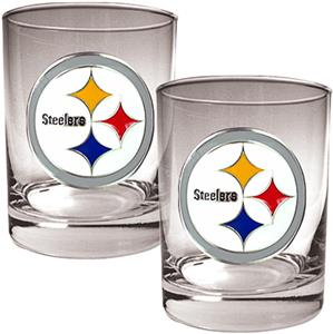 NFL Pittsburgh Steelers 2 piece Rocks Glass Set