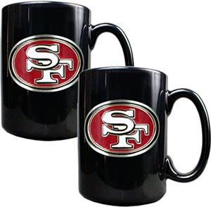 NFL 49ers Black Ceramic Mug (Set of 2)