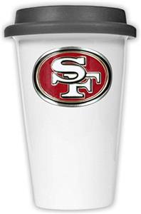 NFL San Francisco 49ers Ceramic Cup with Black Lid