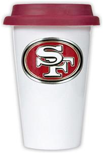 NFL San Francisco 49ers Ceramic Cup w/Maroon Lid