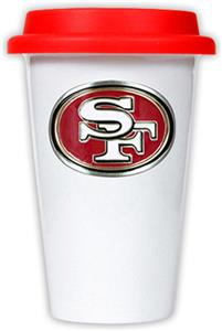 NFL San Francisco 49ers Ceramic Cup with Red Lid