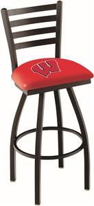 "Univ Wisconsin ""W"" Ladder Swivel Bar Stool"