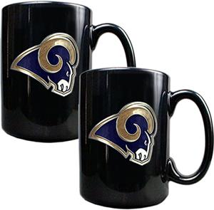 NFL St. Louis Rams Black Ceramic Mug (Set of 2)