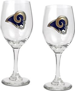 NFL St. Louis Rams 2 Piece Wine Glass Set