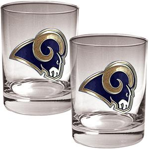NFL St. Louis Rams 2 piece Rocks Glass Set