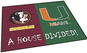 Fan Mats Florida State/Miami House Divided Mat