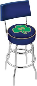 Notre Dame Shamrock Double-Ring Back Bar Stool