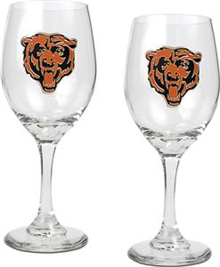 NFL Chicago Bears 2 Piece Wine Glass Set