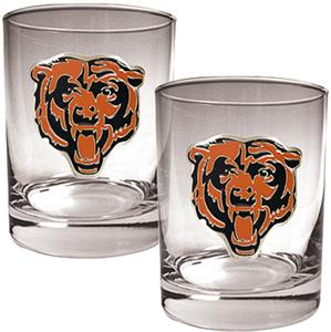 NFL Chicago Bears 2 piece Rocks Glass Set