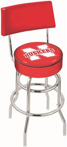 University of Nebraska Double-Ring Back Bar Stool