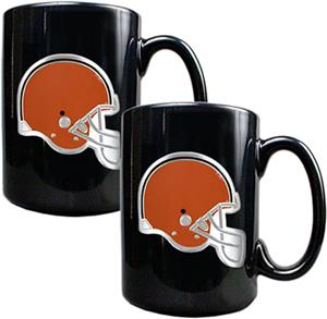 NFL Cleveland Browns Black Ceramic Mug (Set of 2)