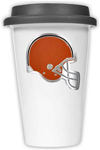 NFL Cleveland Browns Ceramic Cup with Black Lid