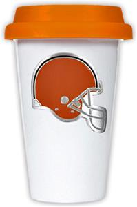 NFL Cleveland Browns Ceramic Cup with Orange Lid