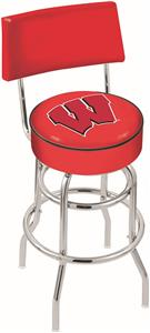 "Univ Wisconsin ""W"" Double-Ring Back Bar Stool"