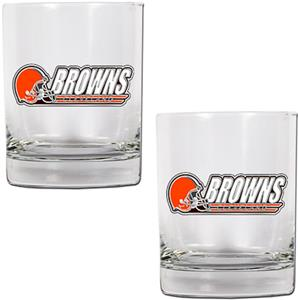 NFL Cleveland Browns 14oz 2 piece Rocks Glass Set