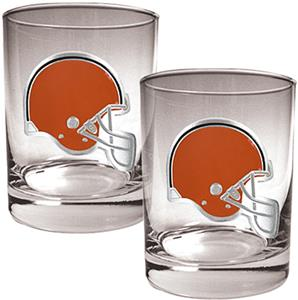 NFL Cleveland Browns 2 piece Rocks Glass Set
