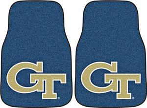 Fan Mats Georgia Tech Black Carpet Car Mats 2PC