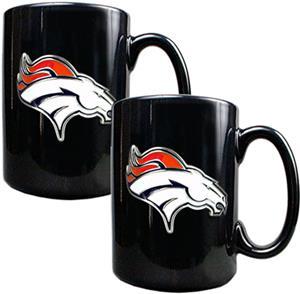 NFL Denver Broncos Black Ceramic Mug (Set of 2)