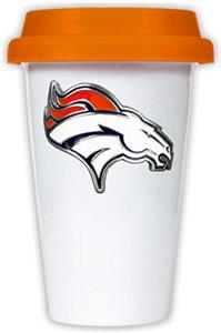 NFL Denver Broncos Ceramic Cup with Orange Lid