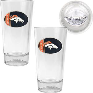NFL Denver Broncos 2 Piece Pint Glass Set