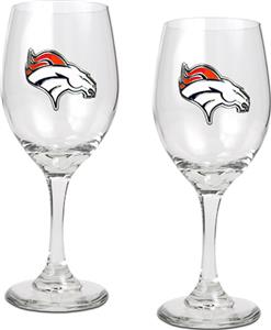 NFL Denver Broncos 2 Piece Wine Glass Set