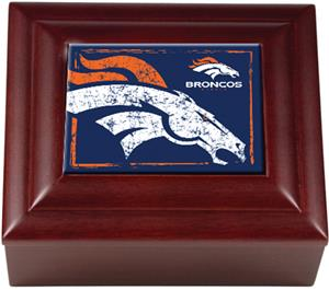 NFL Denver Broncos Mahogany Keepsake Box