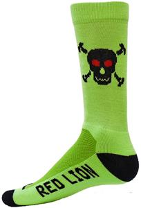 Red Lion Fluorescent Green Skull/Bones Crew Socks