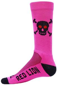 Red Lion Fluorescent Pink Skull/Bones Crew Socks