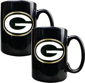 NFL Green Bay Packers Black Ceramic Mug (Set of 2)