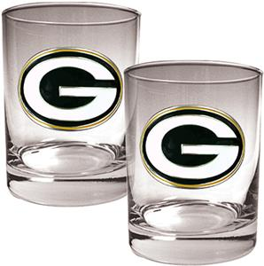NFL Green Bay Packers 2 piece Rocks Glass Set