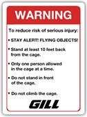 Gill Athletics Throwing Cage Warning Sign