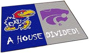 Fan Mats Kansas/K-State House Divided Mat