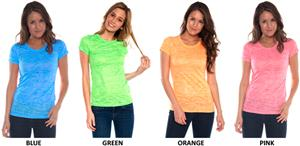 In Your Face Apparel Junior Neon Burnout Tees