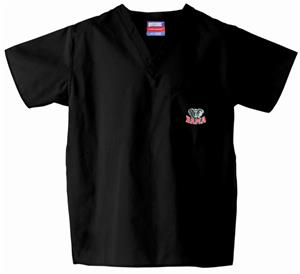 Univ of Alabama Elephant Black Scrub Tops