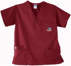 Univ of Alabama Elephant Crimson 3-Pkt Scrub Tops