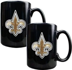 NFL New Orleans Saints Black Ceramic Mug Set of 2