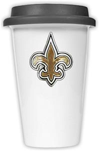 NFL New Orleans Saints Ceramic Cup with Black Lid
