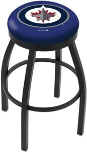 Winnipeg Jets NHL Flat Ring Blk Bar Stool