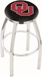 Oklahoma University Flat Ring Chrome Bar Stool