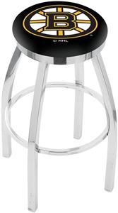 Boston Bruins NHL Flat Ring Chrome Bar Stool