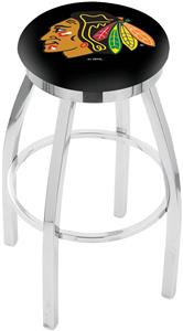Chicago Blackhawks NHL Flat Ring Chrome Bar Stool