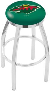 Minnesota Wild NHL Flat Ring Chrome Bar Stool