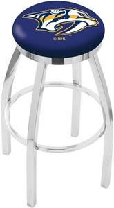 Nashville Predators NHL Flat Ring Chrome Bar Stool