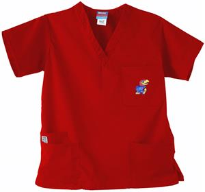 University of Kansas Red 3-Pocket Scrub Tops