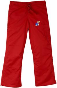 University of Kansas Red Cargo Scrub Pants