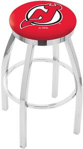 New Jersey Devils NHL Flat Ring Chrome Bar Stool