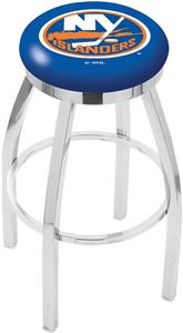 New York Islanders NHL Flat Ring Chrome Bar Stool