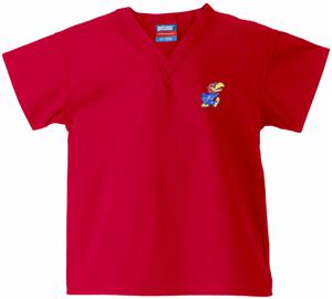 University of Kansas Kid&#39;s Red Scrub Tops
