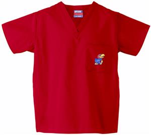 University of Kansas Red Classic Scrub Tops