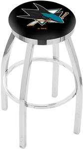 San Jose Sharks NHL Flat Ring Chrome Bar Stool